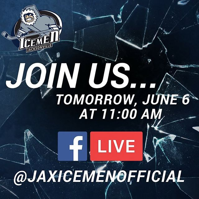 Join us tomorrow on our Facebook page at 11:00AM for an important announcement. #JaxIceMen #igersjax #iloveFL #ilovejax #hockey #echl