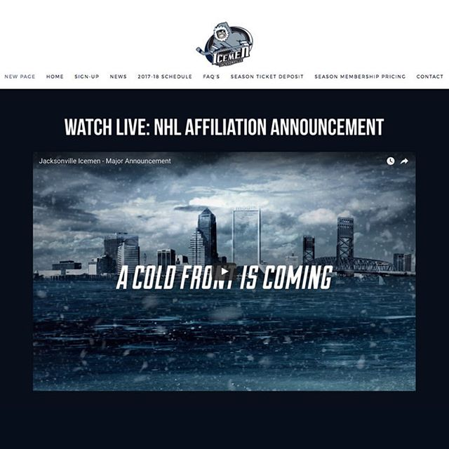 Visit our website (🔗 in bio) at 3PM to watch our announcement live! #CantWait #ilovejax #jacksonville #jax #echl #hockey