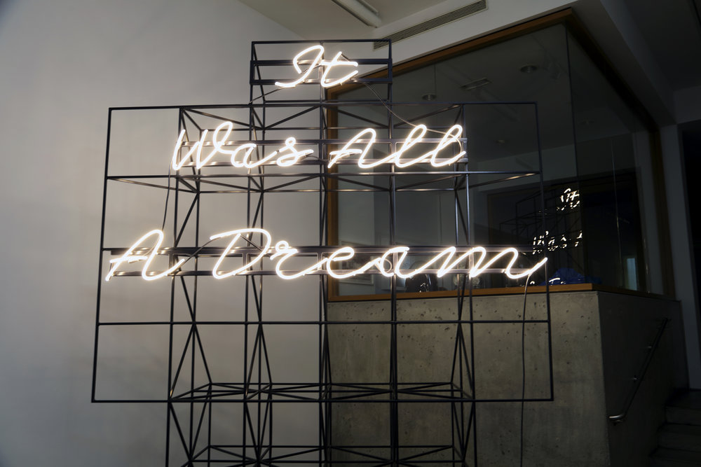 Matthew Sleeth   It Was All A Dream , 2016 Neon and Steel 126 x 95 x 32 inches Courtesy of the Artist and Claire Oliver Gallery