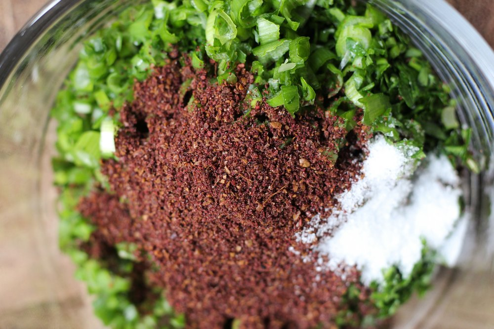 Sumac, parsley, and green onions