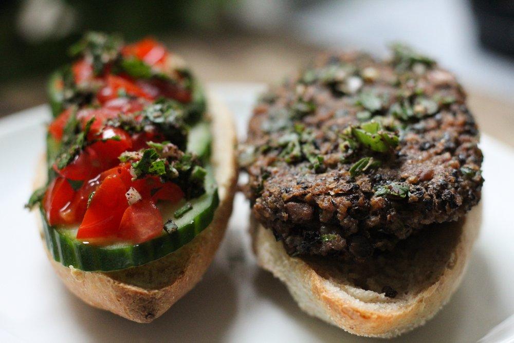 black bean burger / kebab