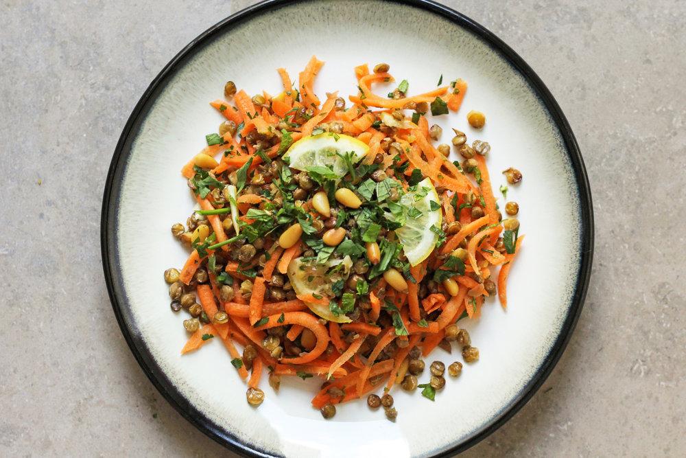 crispy lentil & carrot salad
