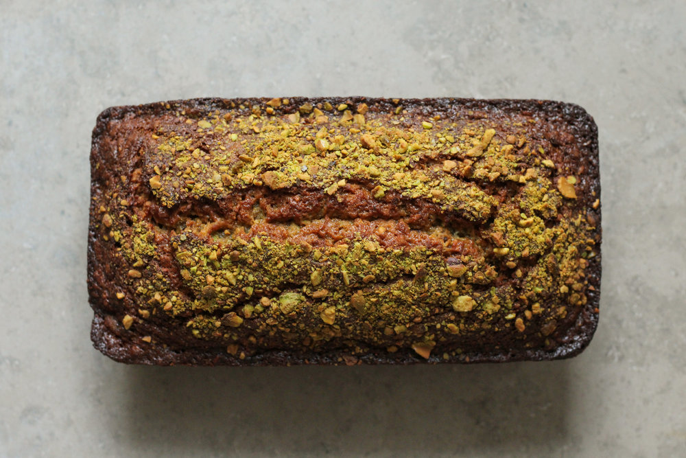 pistachio orange blossom banana bread