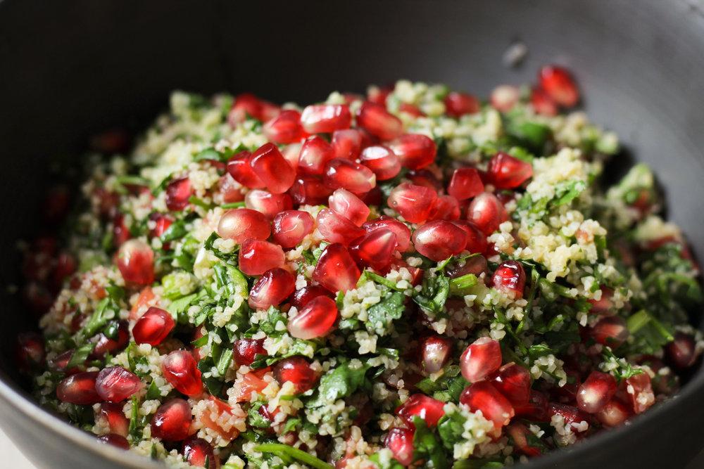 Pomegranate Cilantro Tabbouleh