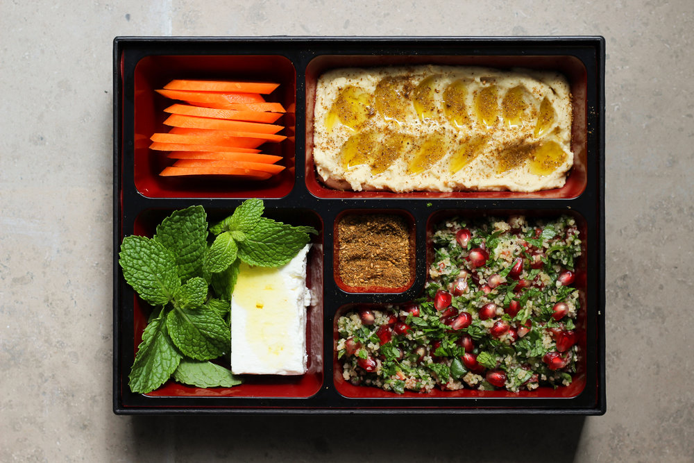 make-ahead vegetarian meze bento