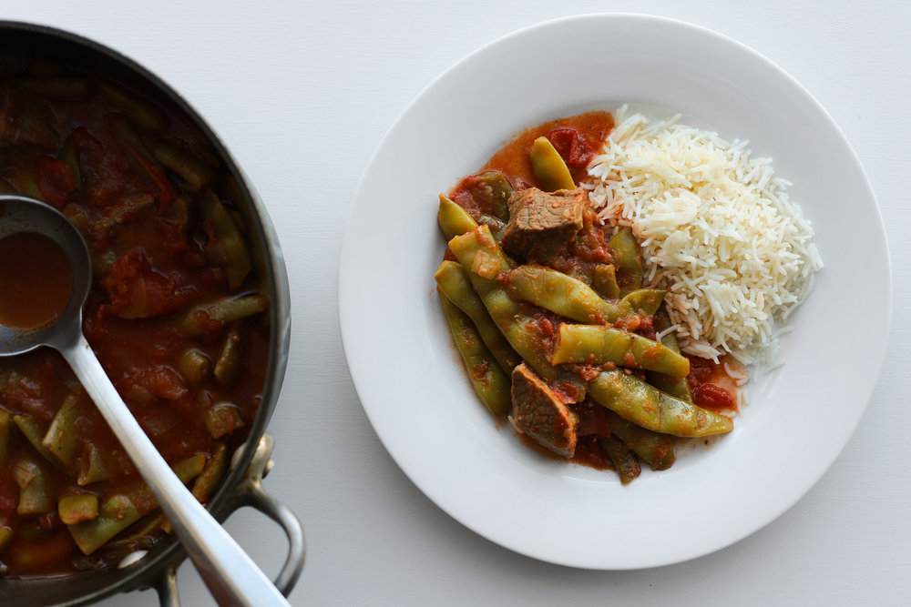 green bean stew | riza sherw'it fasouleyeh