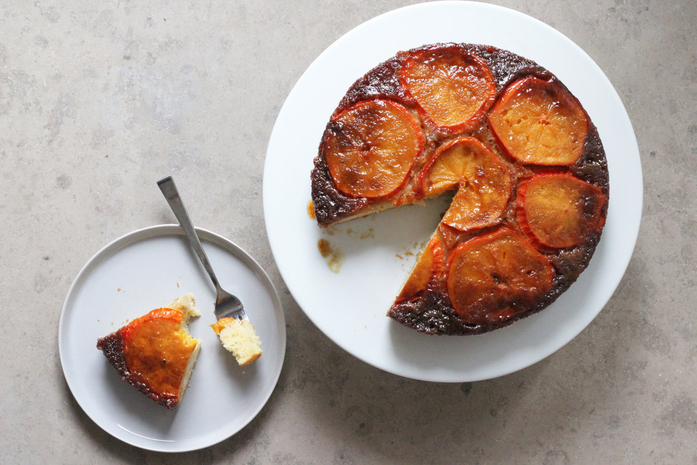 persimmon upside-down cake