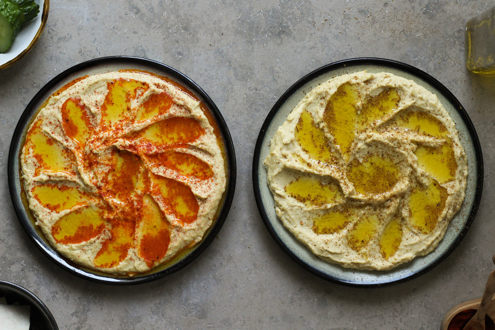roast garlic hummus with lots of tahini