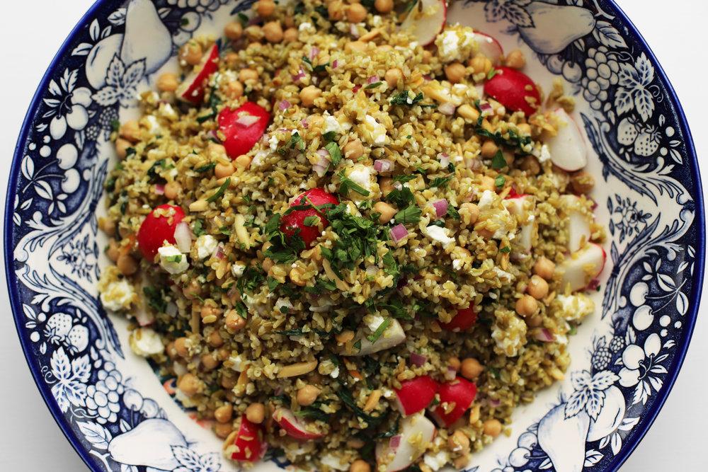 spring freekeh salad