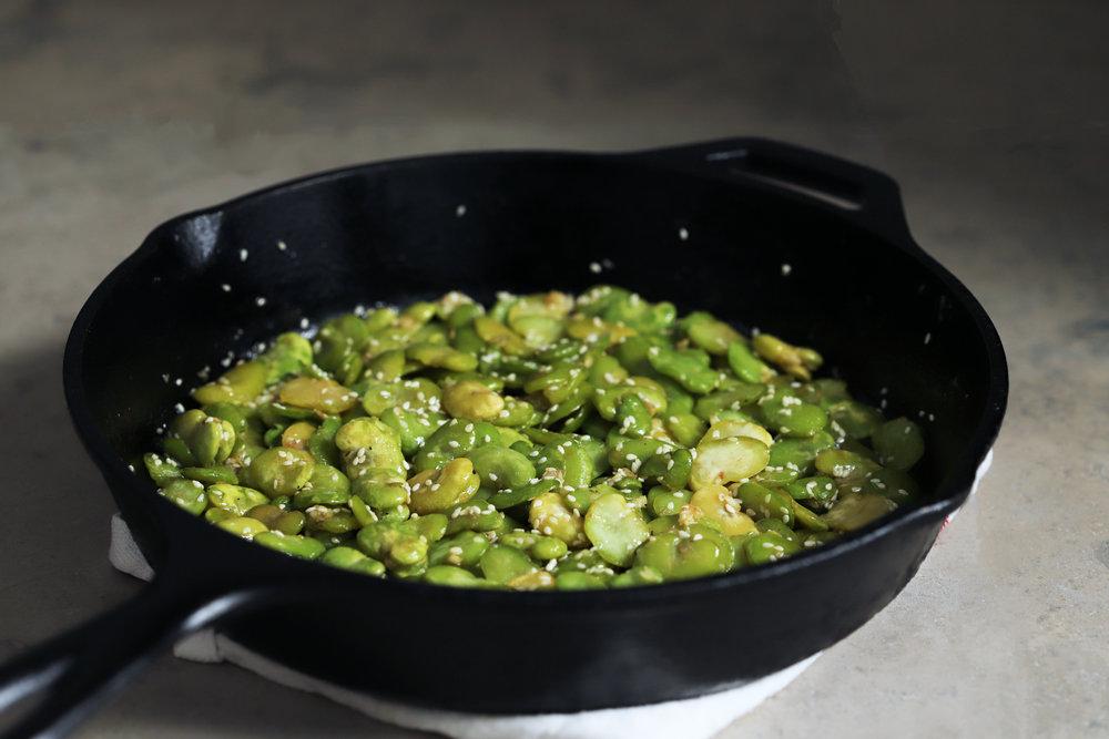 buttery sesame fava beans