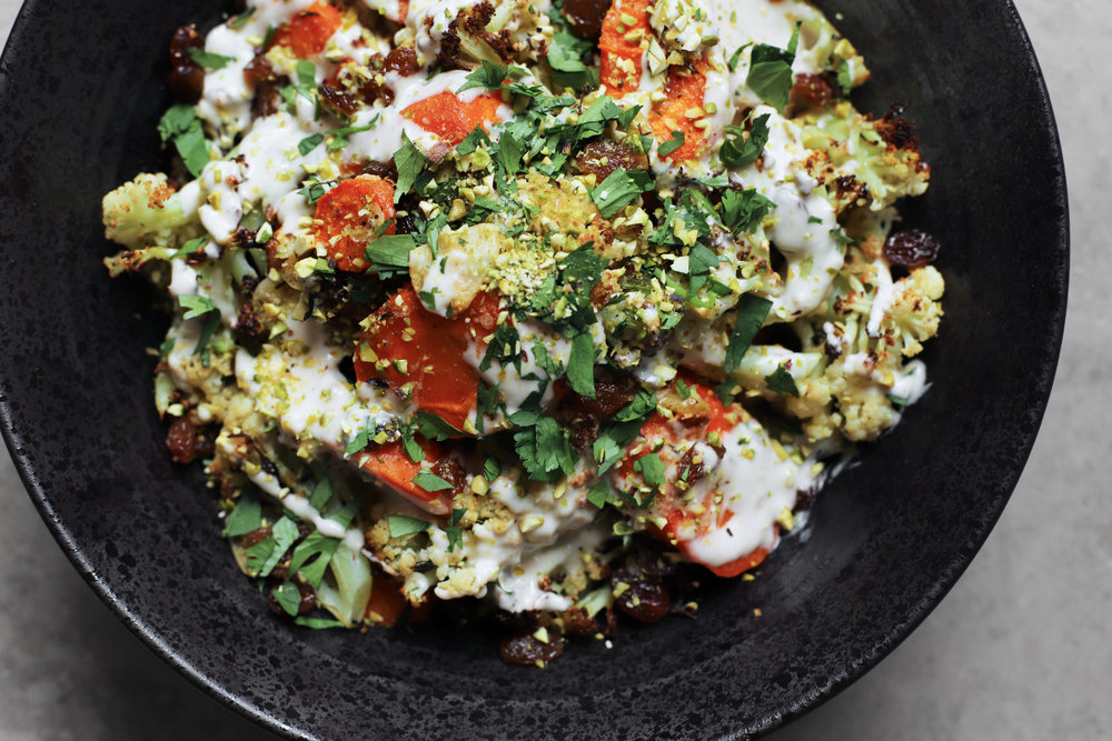 roast carrot and cauliflower with tahini