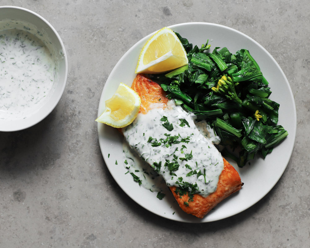 herby tahini yogurt sauce / salmon and broccoli