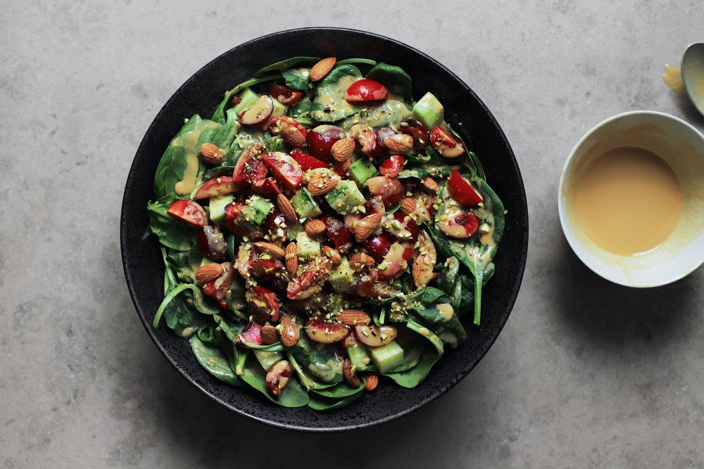 tahini date spinach salad