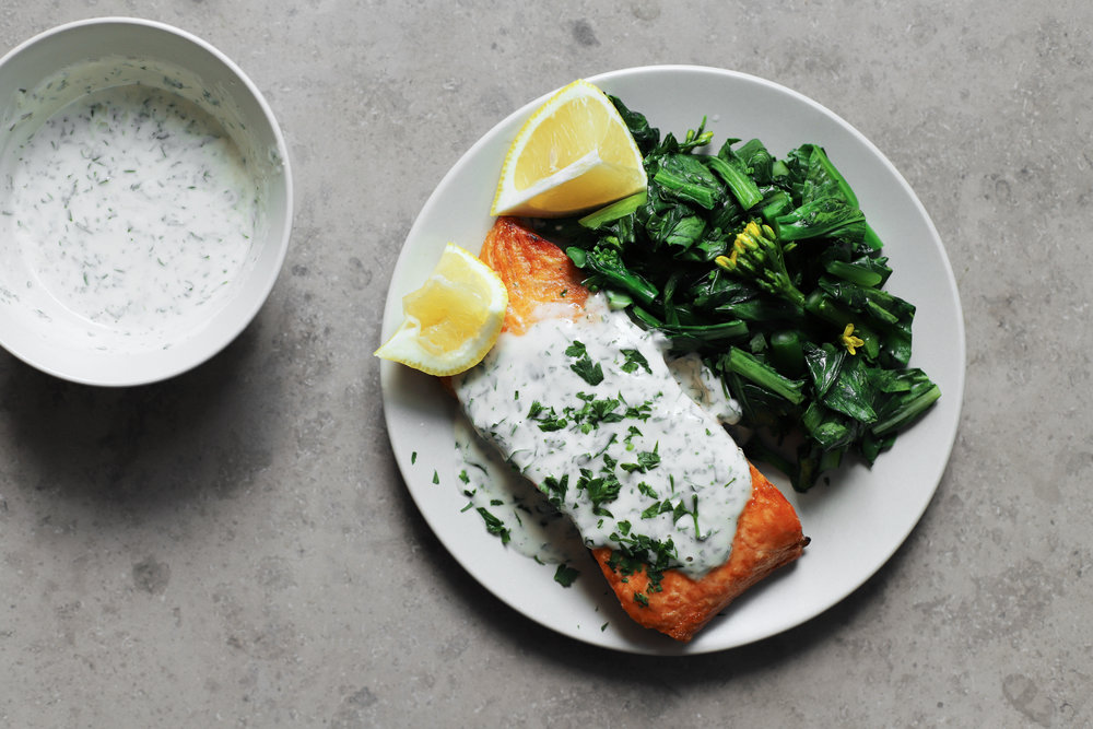 broiled salmon w/ tahini yogurt sauce