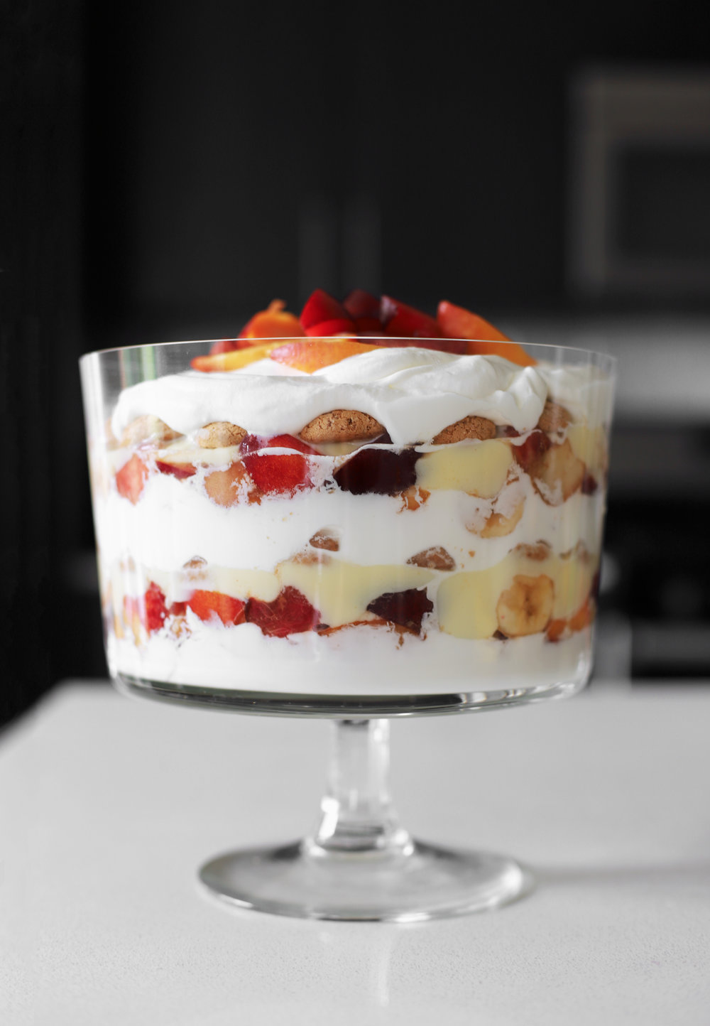stone fruit banana trifle with orange blossom custard