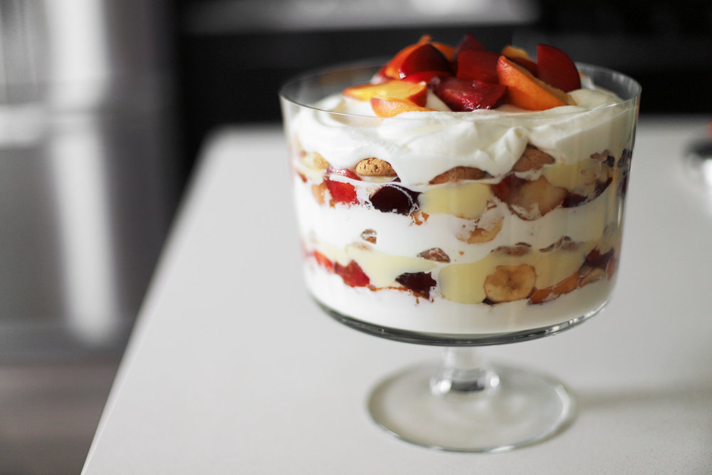 stone fruit banana trifle