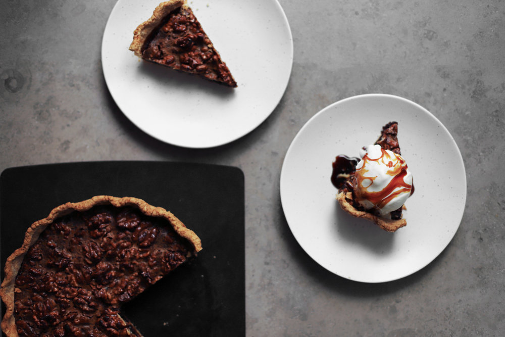 spiced walnut date molasses pie