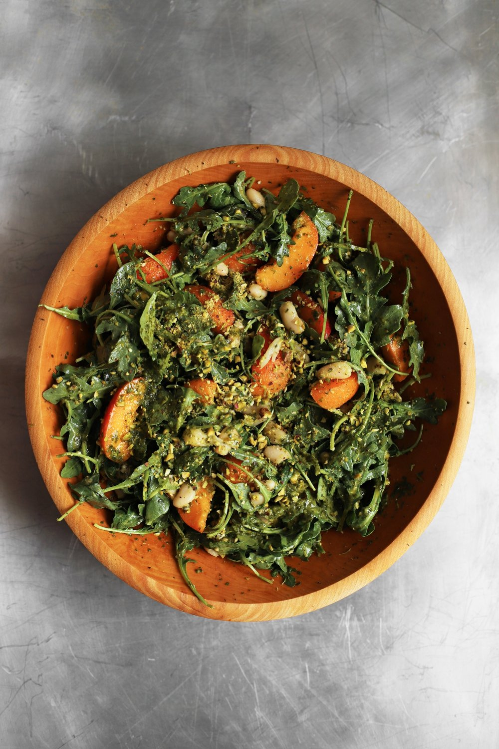 apricot pistachio salad with cilantro lemon dressing