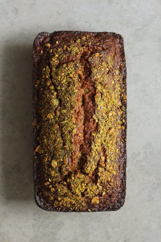 Pistachio Orange Blossom Banana Bread