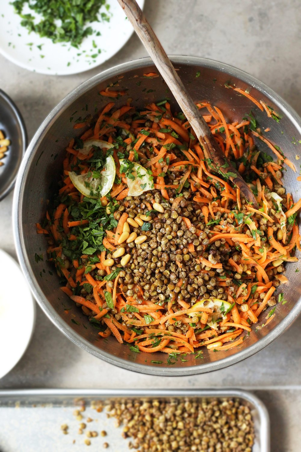 Crispy Lentil and Carrot Salad with Quick-Pickled Lemon