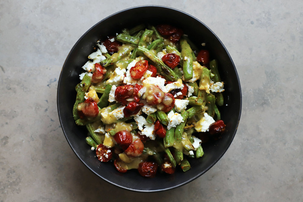 green bean salad with caramelized cherry tomatoes