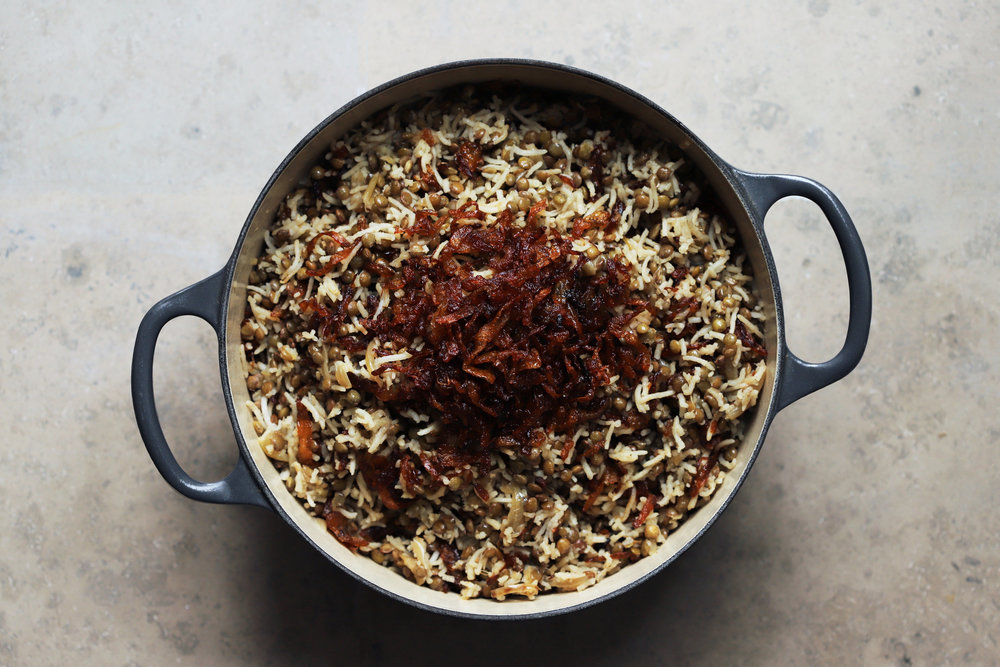 mujadara (lentils and rice with crispy fried onions)