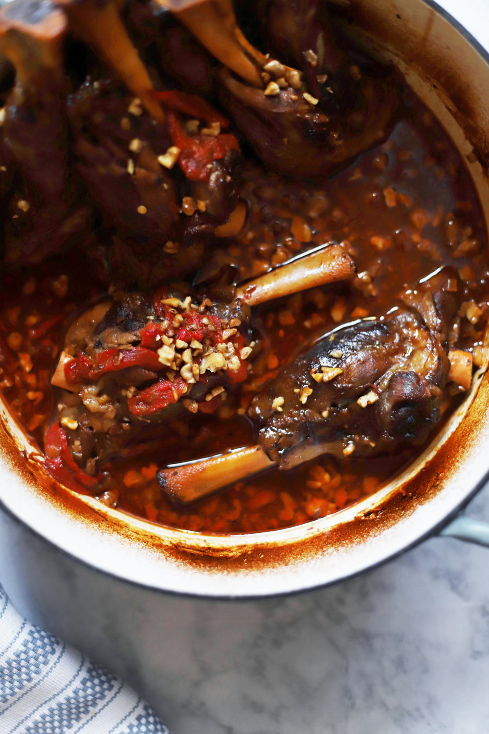 muhammara-inspired lamb shanks