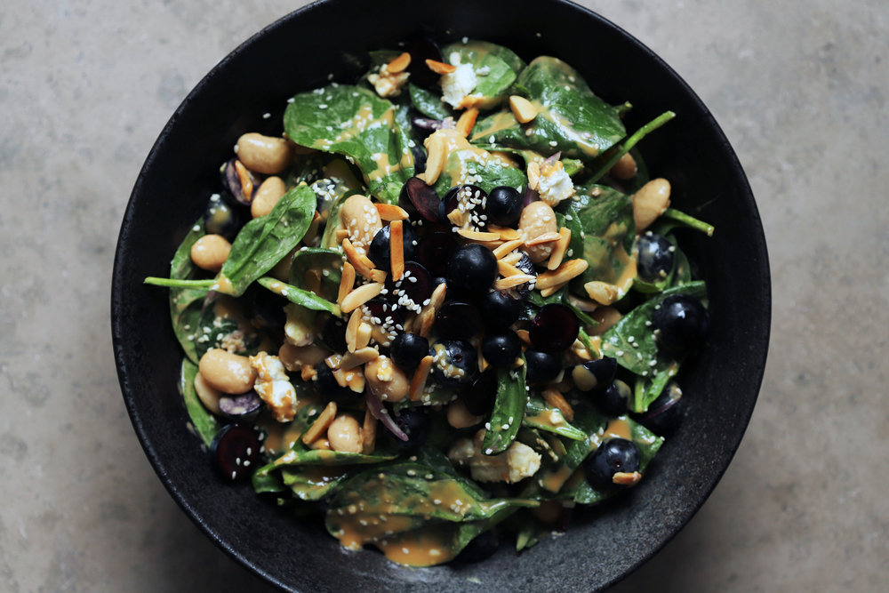 grape salad w/ spinach and tahini
