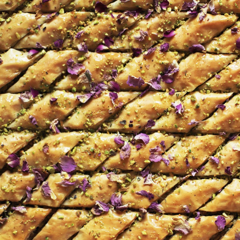 botanical baklawa (made with olive oil and rosewater honey)