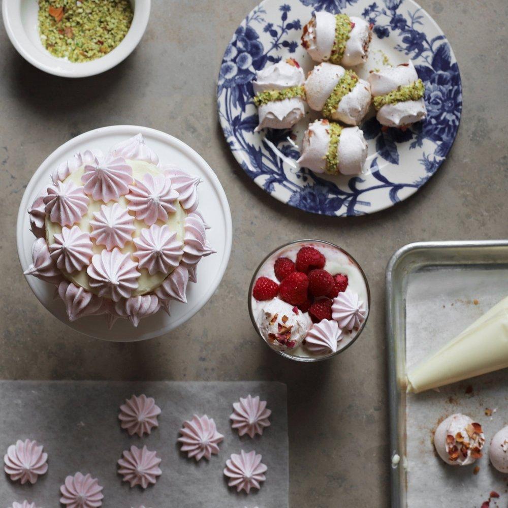 rose cinnamon meringues + a tea party