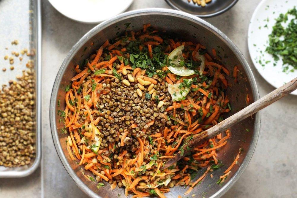 crispy lentil and carrot salad