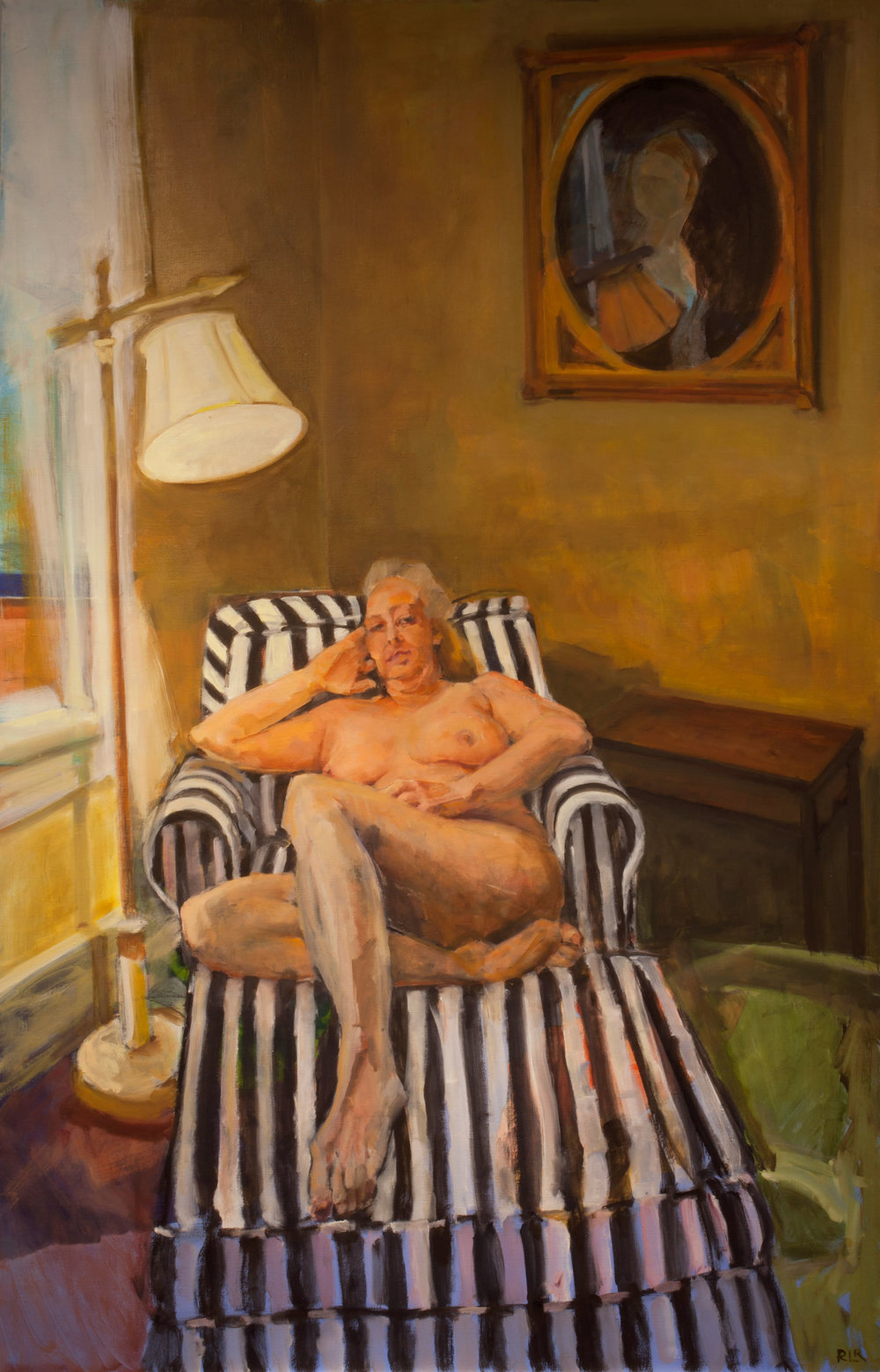 Woman on Striped Couch
