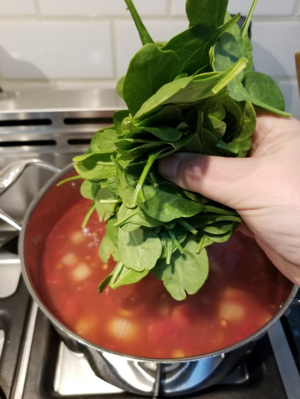 When your lentils are tender, stir in your spinach and allow your spinach to become tender. Approx 5 minutes.