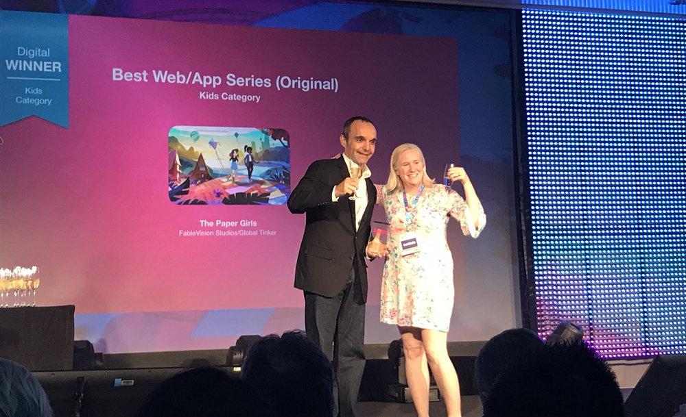 SEP RIAHI ACCEPTING THE BEST WEB SERIES AWARD AT THE 2018 KIDSCREEN SUMMIT (MIAMI 2018)