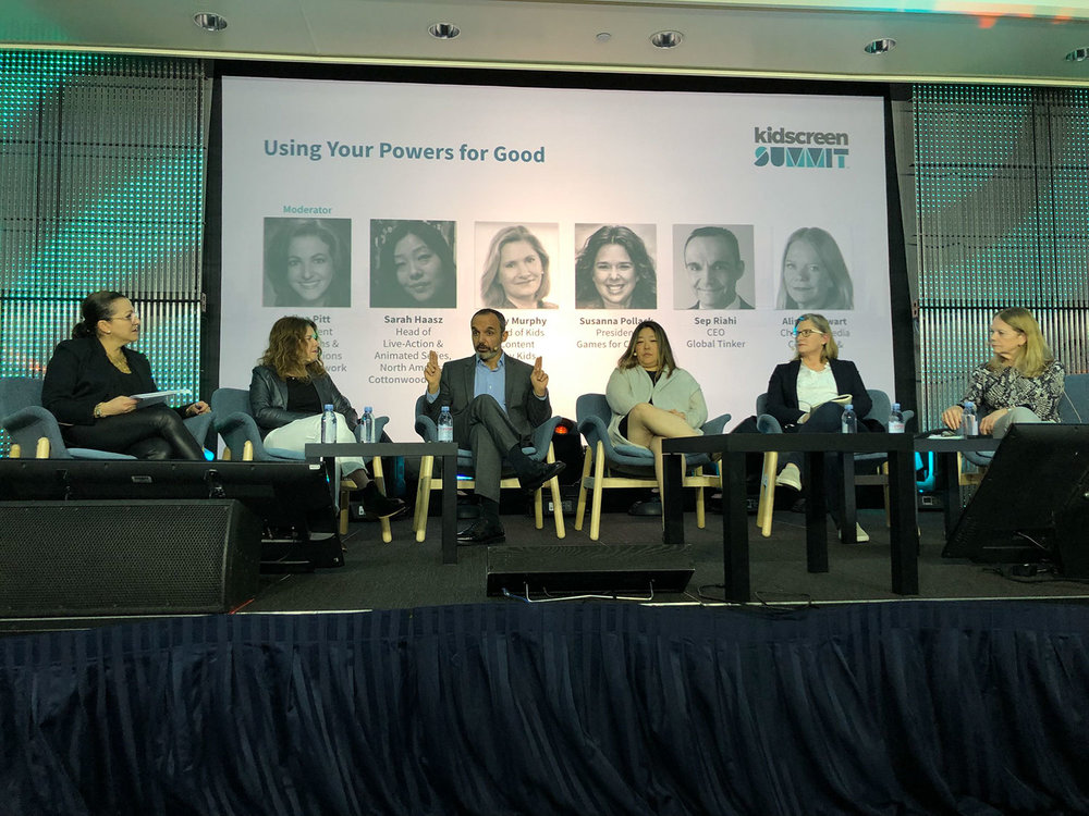 """GLOBAL TINKER'S SEP RIAHI ON THE 2019 KIDSCREEN SUMMIT PANEL """"USING YOUR POWERS FOR GOOD"""", ALONGSIDE COMPANIES CARTOON NETWORK, GAMES FOR CHANGE, FEDERATION KIDS AND FAMILY, AND SKY KIDS (MIAMI 2019)"""