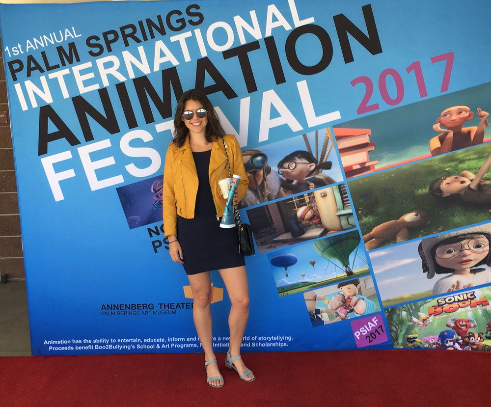 GLOBAL TINKER'S OLIVIA LEVENSON ACCEPTING THE AWARD FOR BEST TV ANIMATED SHORT AT THE PALM SPRINGS INTERNATIONAL ANIMATION FESTIVAL (PALM SPRINGS 2017)