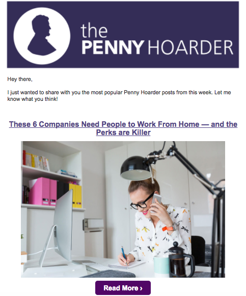 The Penny Hoarder weekender email