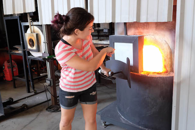 A glass-blowing demonstration at The Hot Shop in Downtown St. Pete. Heather Comparetto/The Penny Hoarde