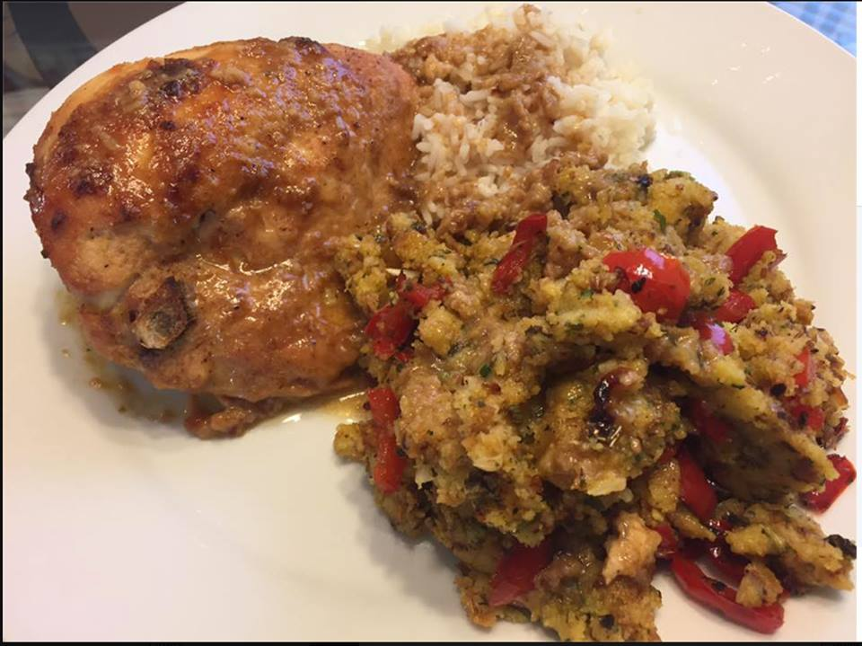 Baked Chicken with Spicy Smothered Rice and Cornbread Stuffing, Jay Isch