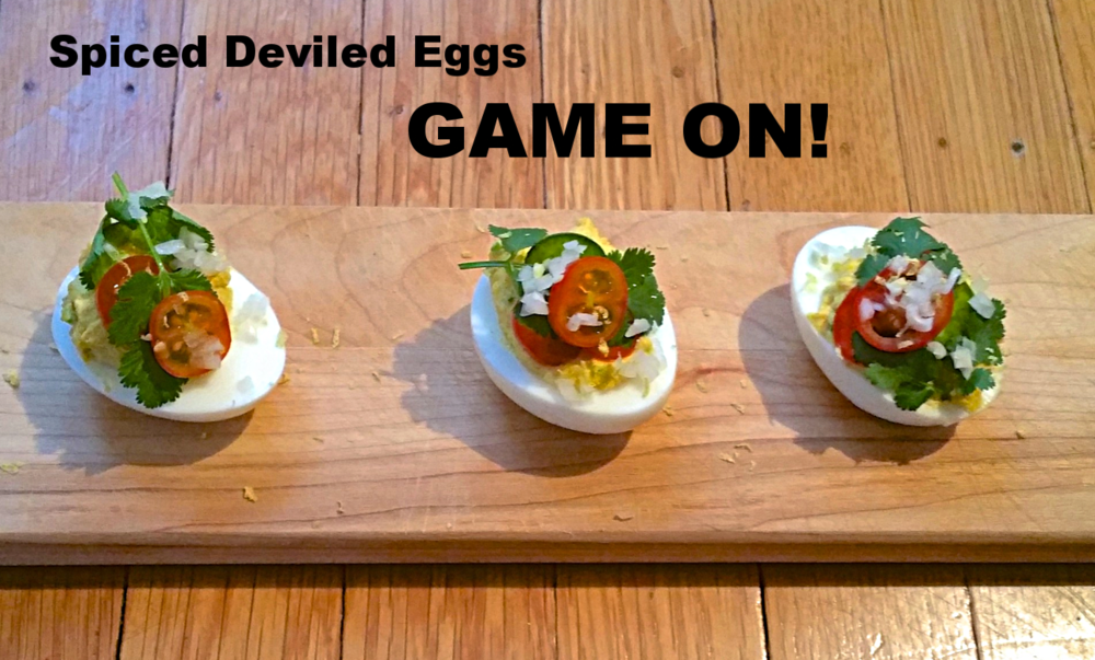 Indian Spiced Deviled Eggs for a Superbowl Party (or Not)