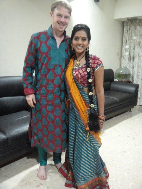 Examples of men's kurta pyjama and women's chaniya choli