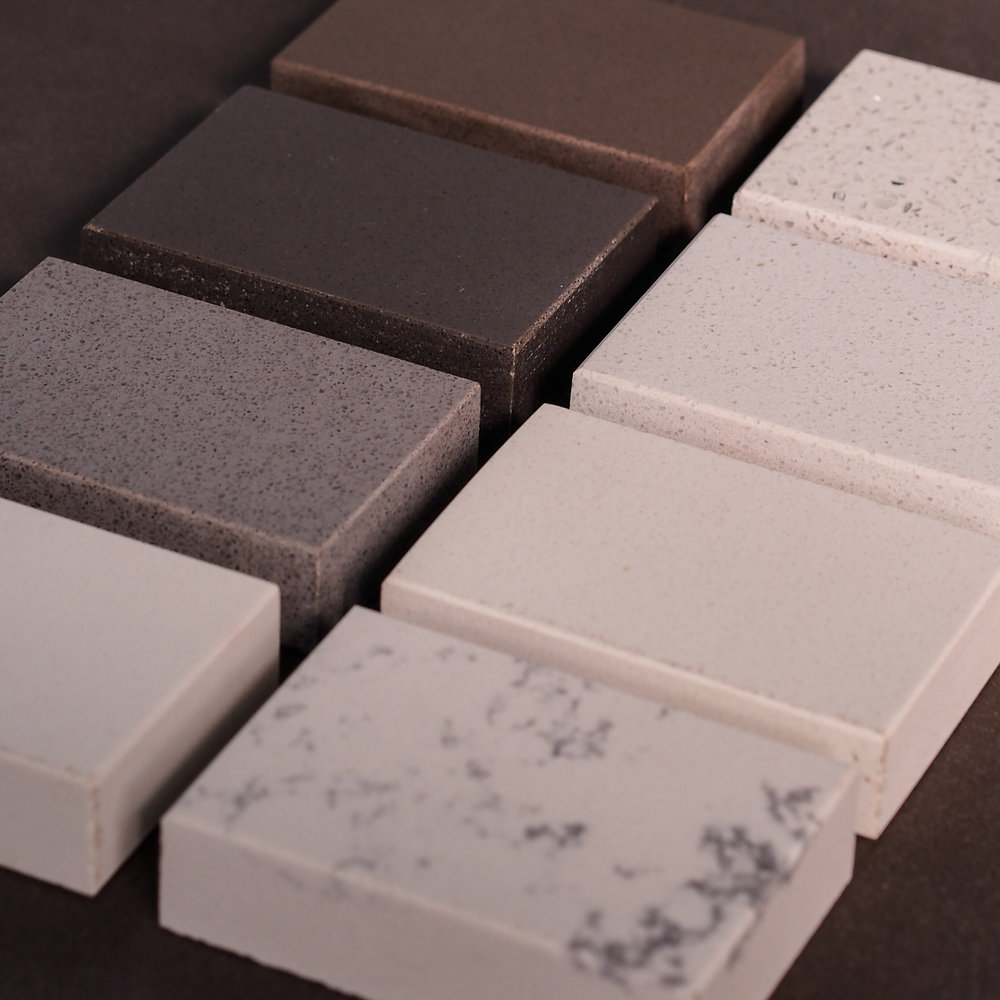 Quartz Samples! - Conceptual Designs carries many different brands of Quartz! We have samples available for viewing and most samples are available for you to check out to help you complete your design! Ask us how to get started today on your next project!