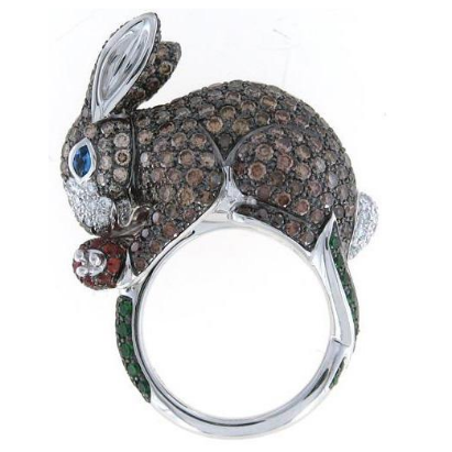 Roberto Coin  18k White Gold Rabbit Ring with Brown Diamonds & Sapphires