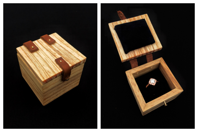 Hand made Ring Box and Custom Engagement Ring
