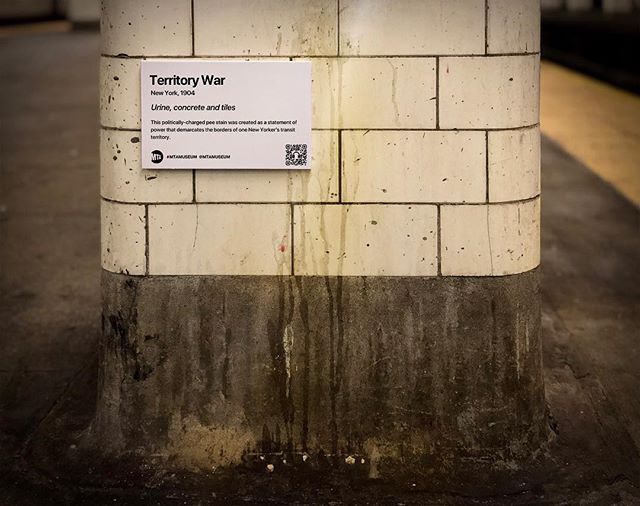 """Title: Territory War, Chambers St (J,Z)  This politically-charged pee stain was created as a statement of power that demarcates the borders of one New Yorker's transit territory. . """"MTA is not just old. It's the history of New York."""" . . #mtamuseum #mta #modernart #newyorksubway #newyorker #nyc #newyork #bedfordave #installationart #artist #artmuseum #masterpiece #art #history #ny #subway #station #hipster #brooklyn #manhattan #mtasubway #commuter #cbsnewyork #moma #metropolitanmuseumofart #whitneymuseum #brooklynmuseum #momaps1 #guggenheim #artwork"""