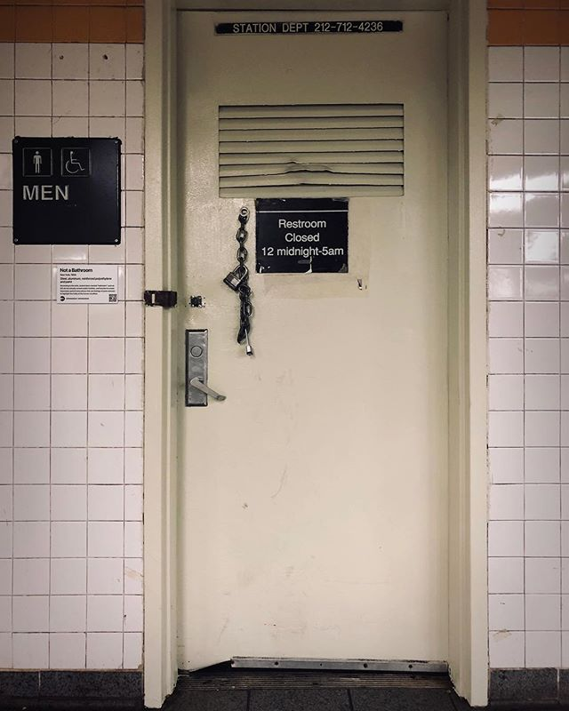"""Title: Not a Bathroom, New York  According to the artist, locked doors marked """"bathroom"""" such as this do not actually contain public facilities, and function to create impromptu performance pieces that use feelings of panic and pain to highlight the frailty of the human condition. . """"MTA is not just old. It's the history of New York."""" . . #mtamuseum #mta #modernart #newyorksubway #newyorker #nyc #newyork #andywarhol #installationart #artist #artmuseum #masterpiece #art #history #ny #subway #station #hipster #brooklyn #bathroom #mtasubway #commuter #cool #moma #metropolitanmuseumofart #whitneymuseum #brooklynmuseum #momaps1 #guggenheim #artwork"""