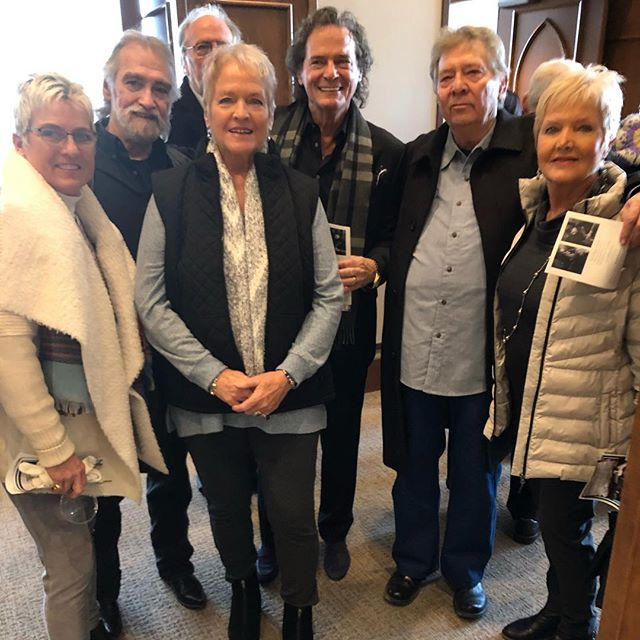 The fabulous Rhoades sisters, Donny Fritz, and Dan Penn at Reggie's service. The sisters sang on many of my records;the best! Donny and Dan, wrote some of you're favorite songs.