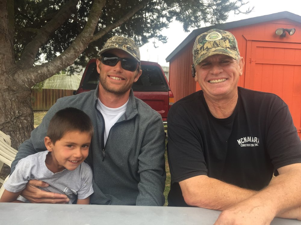 Lost Gear Recovery Team members Calder Deyerle (with his son and deckhand, Miles) and Darryl Donovan.