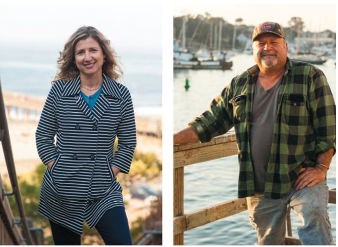 """Reviving an industry: Monterey Bay Fisheries Trust executive director Sherry Flumerfelt, above left hopes a new """"fish hub"""" will help create the increased demand for local fish that fishermen like John Pennisi, above right, need for their fishing businesses to thrive."""