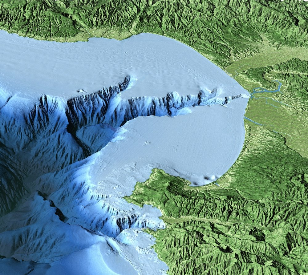 Credit:David Fierstein (c) 2000 MBARI  This aerial view of Monterey Bay from the south was created by combining computer-generated topographic and bathymetric data. Vertical relief has been exaggerated to better show the Monterey Canyon and mountains on either side of the bay.